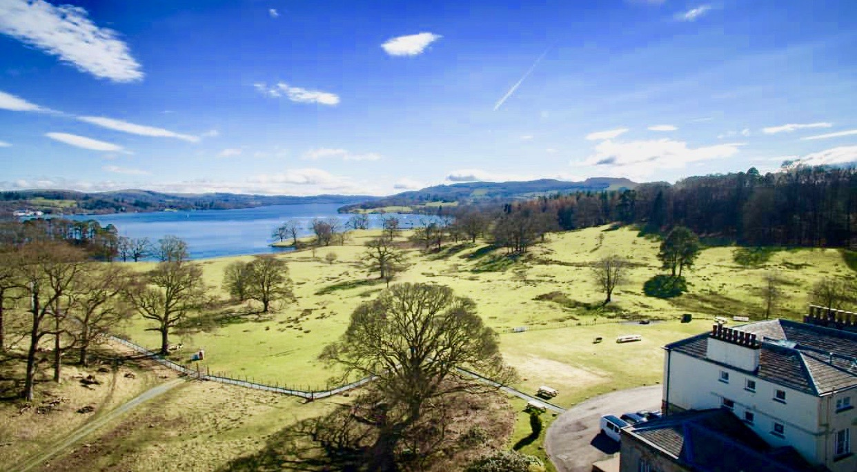 View of Brathay Hall and Lake Windermere