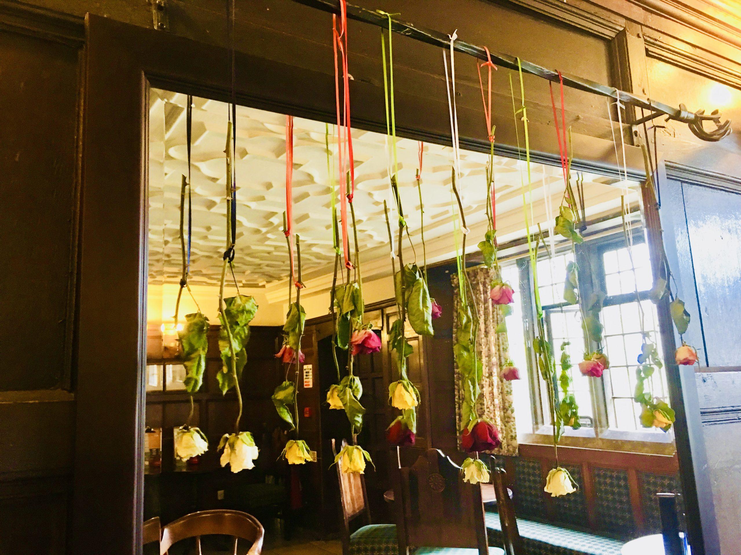 Drying flowers inside Hartington Hall